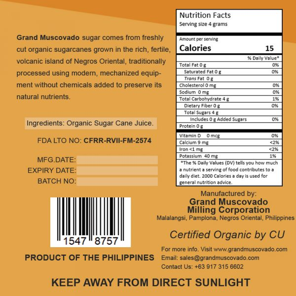 Grand Muscovado Nutritional Facts 500g